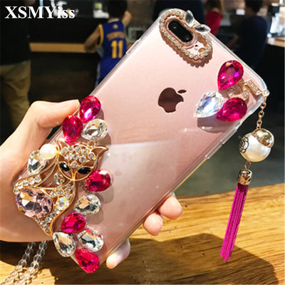 XSMYiss Bling Color Crystal Diamond Fox Tassel Pendant Soft Cover For IPhone X 7 8 Plus 6 6s Plus 5 5S SE 5C 4S Phone Case