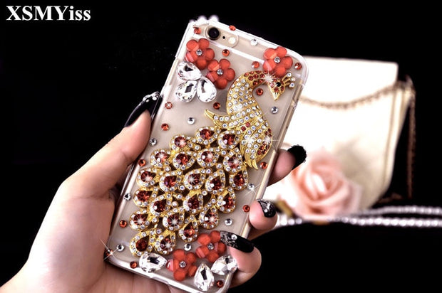 XSMYiss Bling Luxury Rhinestone Peacock Flower Diamond Soft Cover For Samsung S5 S6 S7 S8 S9 Plus Note4 5 8 Mobile Phones Cover