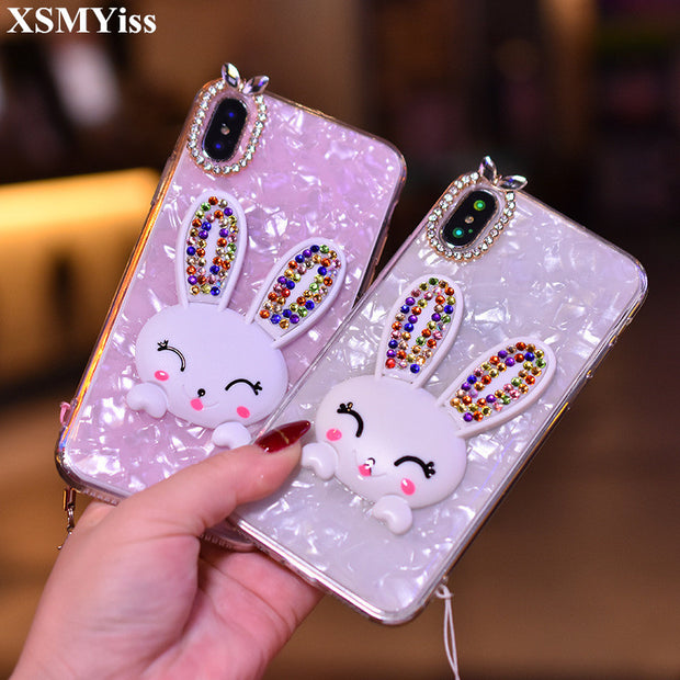 XSMYiss Conch Shell Phone Back Cases For IPhone X XS MAX XR Lovely Bling Diamond Rabbit Soft Cover Case For Iphone 6 6S 7 8 Plus