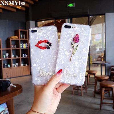 XSMYiss Conch Shell Pink Phone Case For Iphone X 8 8Plus 3D Sexy Lips Rose +Diamond Love Soft Back Cover For Iphone 6 6S 7 Plus
