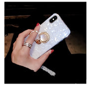 XSMYiss Conch Shell White Phone Case For Iphone X 8 7 6 6S Plus Cute Pink Shell Soft Back Cover Diamond Stand Tassel Case