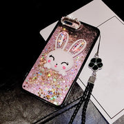 XSMYiss Cute Cartoon Rabbit Phone Rhinestone Case For IPhone X Pc+tpu Soft Shell Pink Black Shell For IPhone 6 6S 7 8 Plus