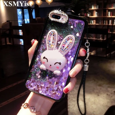 XSMYiss Cute Cartoon Rabbit Phone Rhinestone Case Pc+tpu Soft Shell Pink Black Shell For Samsung S6 S7 S8 Edge Plus Note3 4 5 8
