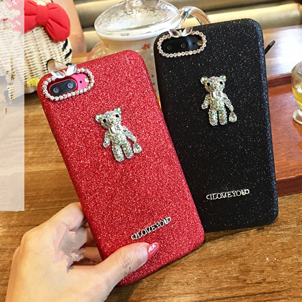 XSMYiss Fashion Luxury Bling Glitter Diamond Bear Sequins Glitter Soft Cover Case For IPhone X 6 6S Plus 7 7Plus 8 8Plus