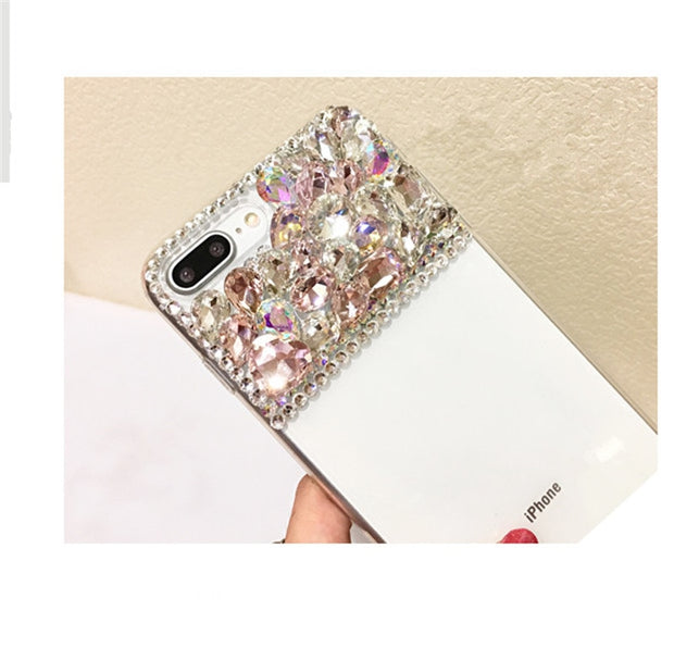 XSMYiss For Iphone 5C 5S SE 6 6S 6Plus Case Luxury Fashion Rhinestone Crystal Drill Flash Soft Cover For Iphone X 7 8 Plus Cove
