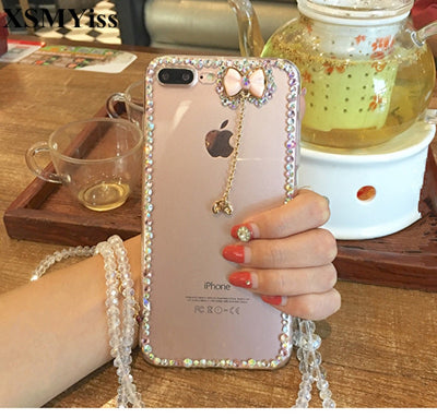 XSMYiss For IPhone 7 8 Plus Phone Case Diamond Tasseled Bowknot For Iphone X 4S 5S SE 5C 6 6S 7 8 Plus Transparent Soft Cover