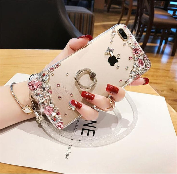 XSMYiss Luxury Glitter Ring Buckle Phone Cases Back Cover Bling Rhinestone Case For Samsung S5 S6 S7 Egde S8 S9 Plus N 3 4 5 8