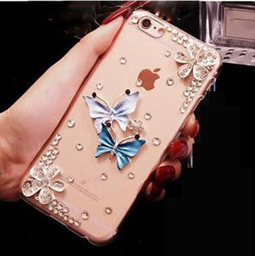XSMYiss New Style Cute DIY Handmade Bling Rhinestone Fashion Cases For Iphone X 4 5C 5S 6S 7 8 Plus Diamond TPU+PC Phone Cover