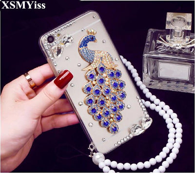XSMyiss Luxury 3D Peacock Crystal Bling Case Rhinestone Soft Cover Case For HuaweiP8 P9 P10 P20 Lite Plus Mate 7 8 9 10 Lite Pro