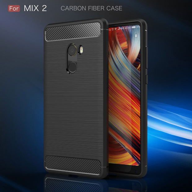 Xiaomi Mi Mix 2 Case Silicon Case For Xiaomi Mi Mix2 Case Cover Fundas Soft Carbon Fiber Brushe Coque Etui Capinha Aksesuar