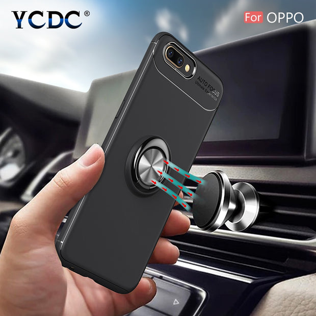 YCDC 360 Rotation Car Stand Case For OPPO R9/R9s/R11/R11S Plus/R15/A73/A77/A59 TPU Back Cover With Magnetic Case Ring Stand