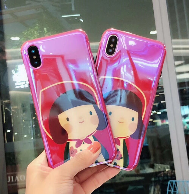 YHCSZ Blue Ray Little Girl Cartoon Soft TPU Phone Case For Iphone 6 6s 7 8 Plus X