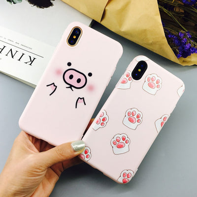 YHCSZ Cartoon Pink Cute Pigs Candy Color TPU Back Cover Soft Phone Case For IPhone 8 8plus X