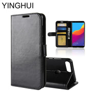 "YINGHUI Luxury Case For Huawei Y7 Prime 2018 / Enjoy 8 / Y7 Pro 2018 5.99""Phone Case PU Leather Flip Protective Back Cover Coque"