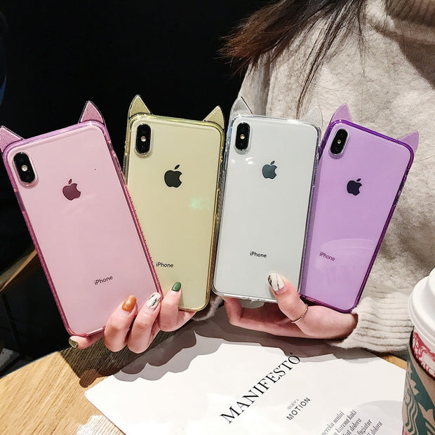 YISHANGOU 3D Cat Ears Phone Case For IPhone X XR XS Max Bling Diamond Frame Silicon Soft Cover For IPhone Xs 7 8 6 6S Plus Coque