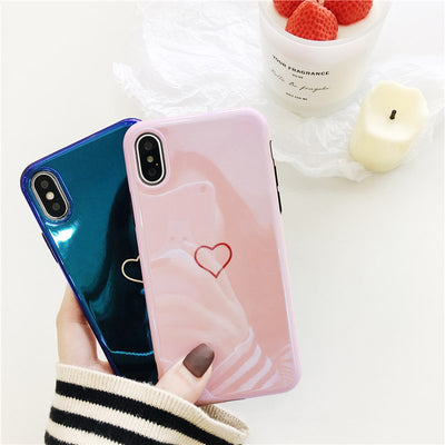 YISHANGOU Blue Pink Shining Love Heart Phone Case For IPhone 10 X 8 7 Plus 6 6S Plus Mirror Pattern Soft TPU Silicon Back Cover