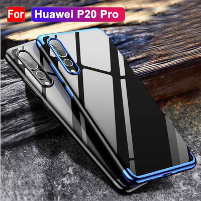 YISHANGOU Transparent Plating Case For Huawei P10 P20 Lite Honor 9 V10 NOVA 3E Soft TPU Cover For Huawei Mate 10 Pro P20 Plus