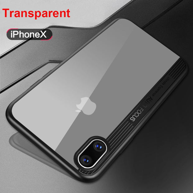 [Year-end Clearance] For IPhone X Luxury Transparent Arcylic Soft Silicone Case For IPhone X Slim Thin Thin Full Back Cover Case