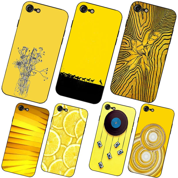 timeless design 07f61 572ba Yellow Aesthetic Art Pretty Hard And Transparent Phone Case For Iphone 6 7  8 Plus X10 5 5C 4 Cover Cases