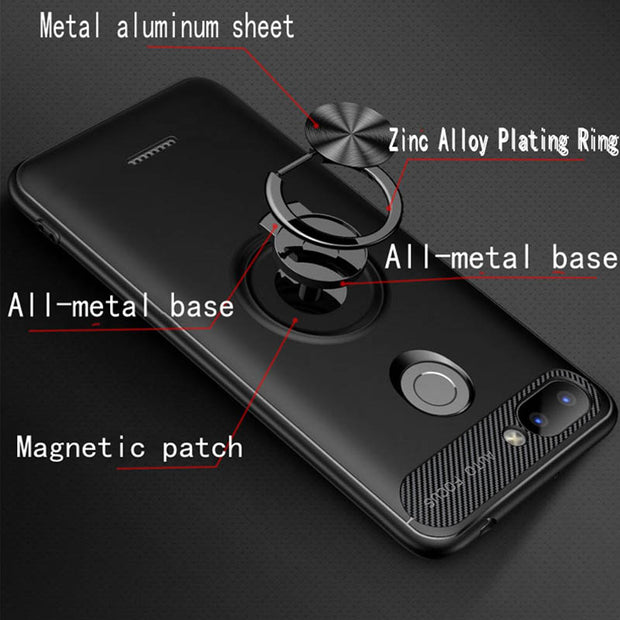 Yeuzoe For Xiaomi Redmi 6 Case Car Holder Stand Bracket Carbon Fiber Silicone Finger Ring Case For Xiaomi Redmi 6A Phone Cover