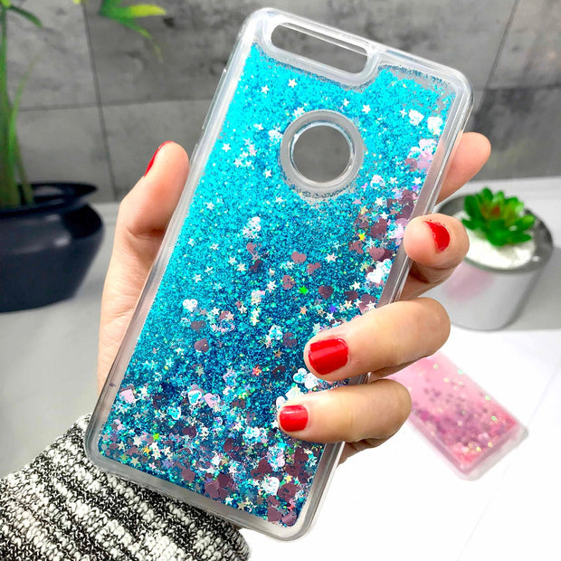 ZFTANG Glitter Liquid Case For Huawei Honor 8 Case Silicone Soft TPU Phone Cases For Coque Huawei Honor 8 Case Cover Back Covers