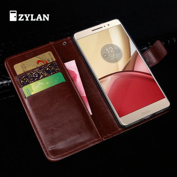 ZYLAN Case For Motorola MOTO M XT1662 Case Wallet Flip Leather Soft TPU Back Cover For Motorola MOTO M & GIFT
