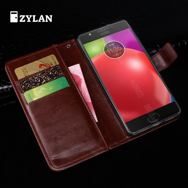 ZYLAN For Motorola Moto E4 Case Moto E4 Leather Wallet Cover Case For Motorola Moto E 4th Gen Phone Case Flip Bag & GIFT