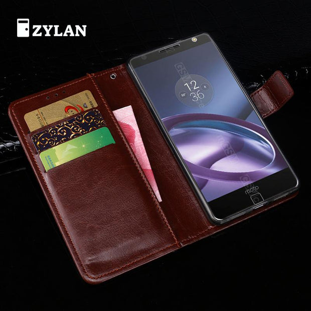 ZYLAN High Quality Wallet Case For Motorola MOTO X4 Luxury Leather Cases Flip Stand Cover ID Card Slots Phone Bags & FREE GIFT