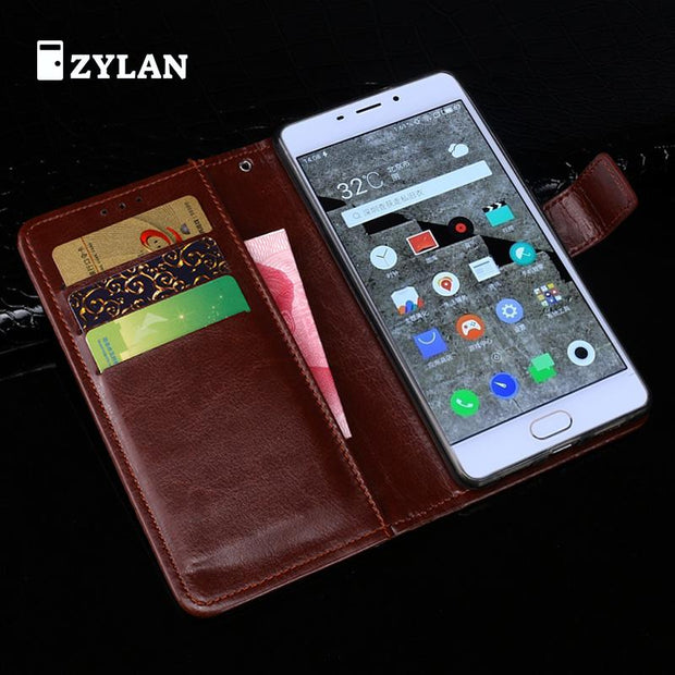ZYLAN Hot Sale Leather Business Case Cover Stand For MEIZU Metal E Card Slot Black Brown 8 Colors & Free Stylus & Free Rope