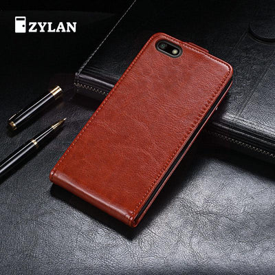 ZYLAN Leather Case For Honor 7A DUA-L22 Premium Leather Wallet Flip Case Russian Version 5.45 Inch Black Brown & FREE GIFT