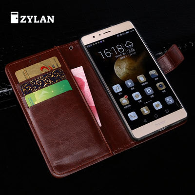 ZYLAN Luxury Black Brown Leather Case Cover For Huawei Honor V8 Stand Wallet Flip Case /w Free Strap Free Pen