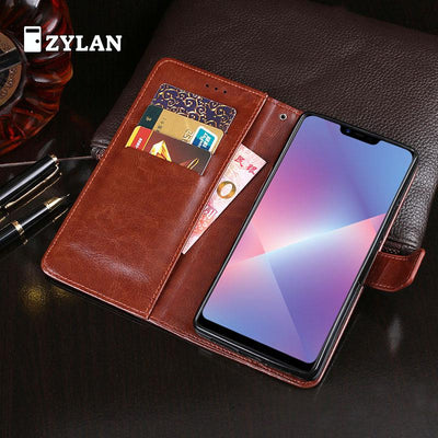 ZYLAN Luxury Case For Oppo A3S R17 Retro Flip Wallet Leather Cover With Card Slots Stand Soft Phone Case & FREE GIFT