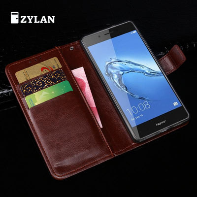 ZYLAN Luxury Wallet Cover For Huawei Honor 6C Leather Case Wallet Phone Holder For Huawei Honor 6C Flip Case Hard Plastic +_Gift