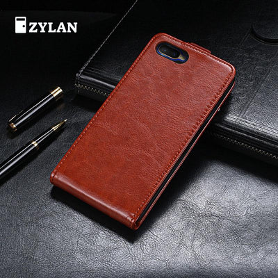 ZYLAN Up And Down Flip Leather Case Cover Phone Bag Black Brown Case For OPPO K1 OPPO AX5 CPH1851 + FREE GIFT