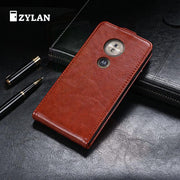 ZYLAN Up And Down Flip Leather Case Cover For Motorola Moto E5 E5 Play E5 Plus Black Brown & FREE GIFT