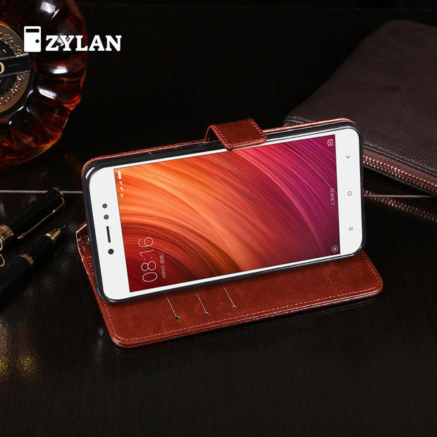 ZYLAN Vertical Leather Phone Case For Xiaomi Y1 Lite Crazy Horse Pattern Flip Protector Shell Cover For Redmi Note 5A Prime