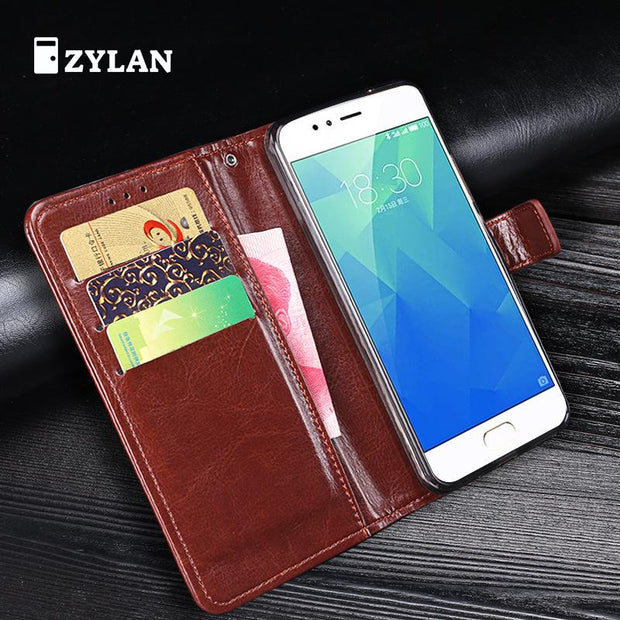 ZYLAN For Meizu M5S Case Cover Leather Wallet Flip Phone Bag Cover Case For Meizu M5s Mini M 5S Stand & Stylus & Rope