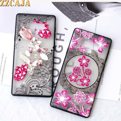 ZZCAJA Cute Emboss Patterned Case For Samsung S8 S9 Plus Hard Cover With Soft Frame Pink Flower Shell For Samsung Note 9 S7 Edge