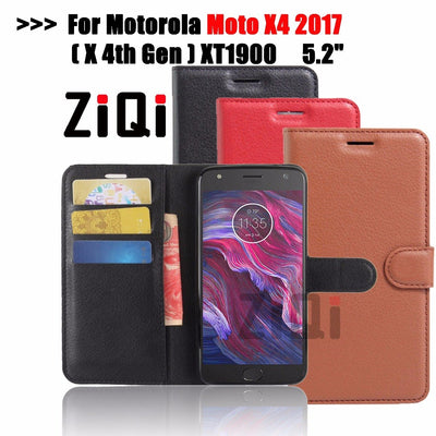 "ZiQi For Motorola Moto X4 X 4 2017 5.2""Case Cover Wallet PU Leather Case For Moto X (4th Gen.) Flip Cover Coque Phone Cases"