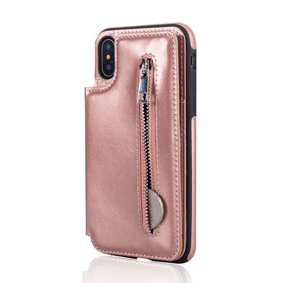 6353a5fba6ef55 Previous. Zipper Phone Cases For IPhone X XS MAX XR Multi Card Holders  Leather Wallet Case Cover ...