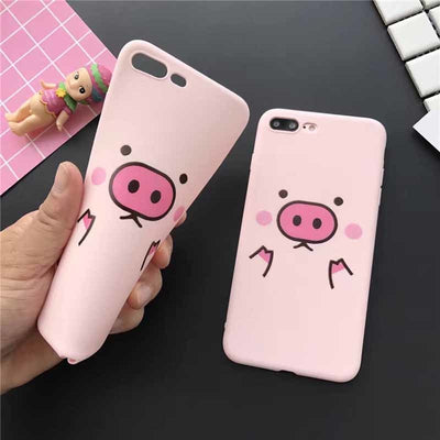 Zxtrby New Arrival Cute Pink Pig Phone Case For IPhone 6 6S 7 Plus 8 8Plus Soft TPU Phone Back Cover Coque