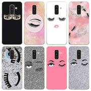 Big Eye Eyelashes Printed Phone Case For Samsung Galaxy J2 J3 J4 Plus J5 J6 Plus J7 J8 2018 Soft Silicone Cases Cover
