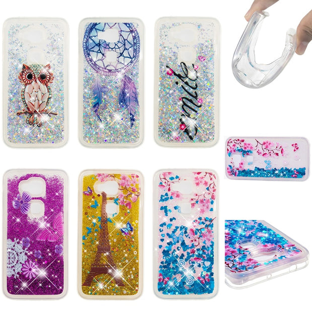 For Huawei G8 Case Fashion Bling Glitter Quicksand Pattern Liquid Soft Back Case Cover For Huawei GX8 Case Coque Fundas Capa