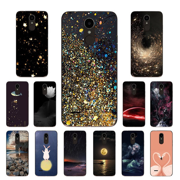 For LG K4 2017 X230K Case Soft TPU Silicone Cover Golden Printing Phone  Case For LG X230 / LG K4 2017 EU Version 5 0 Capa