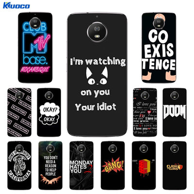 For Moto Motorola G5S XT1793 XT1794 XT1792 Phone Case Silicone Black Letters Printing Cover For Motorola G5S G 5S Soft Fundas