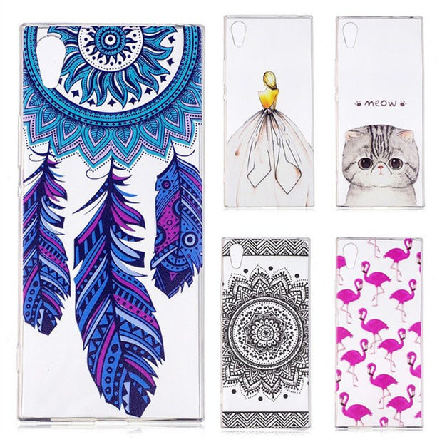 For Sony Xperia XA1 Phone Cases For Sony Xperia XA1 Silicon Cover Fashion Girl Cat Rose TPU Shell Bag Coque Capinha Etui Hoesjes