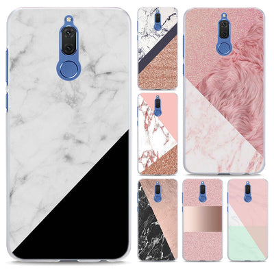 Gold Pink Marble Stone Pattern Transparent Hard Phone Case Cover For Huawei Mate 10 10 Lite 9 S P10 P20 Lite P Smart