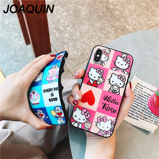 Highest Ultrathin Glass Case For IPhone 6 6s 7 8 Plus Cartoon Hello Kitty Doraemon Soft Shell For IPhone X XR XS MAX Cases Back