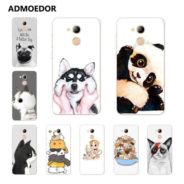 Huawei Honor 6c Pro Case,Silicon Look Cat Painting Soft TPU Back Cover For Huawei Honor V9 Play Phone Protect Bags Shell