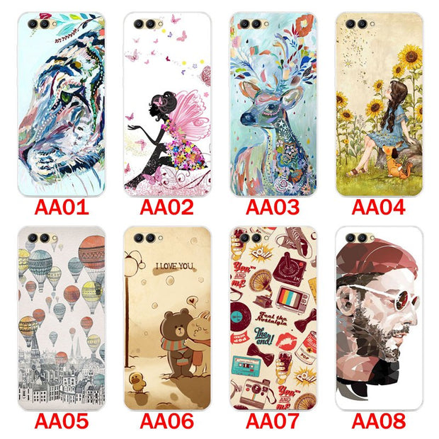 Huawei Honor V10 Case,Silicon Panda Painting Soft TPU Back Cover For Huawei Honor V10 Phone Protect Bags Shell
